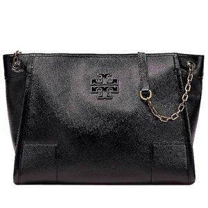 Tory Burch Britten Slouchy Tote Black Patent